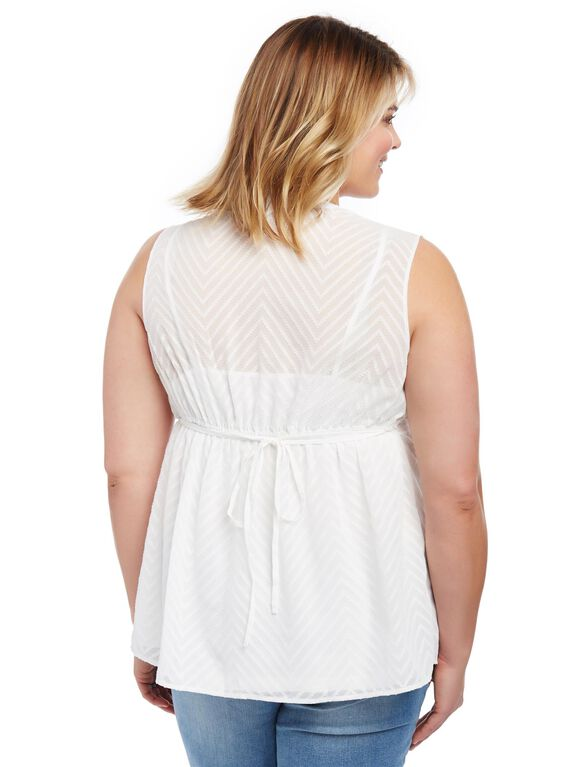 Plus Size Eyelet Trim Maternity Tank, White