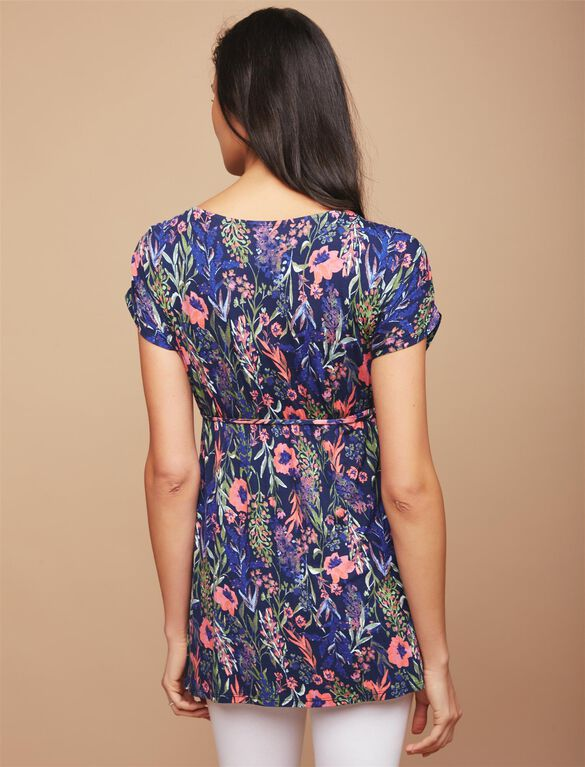 Shirred Waist Maternity Tunic- Floral, Floral Print