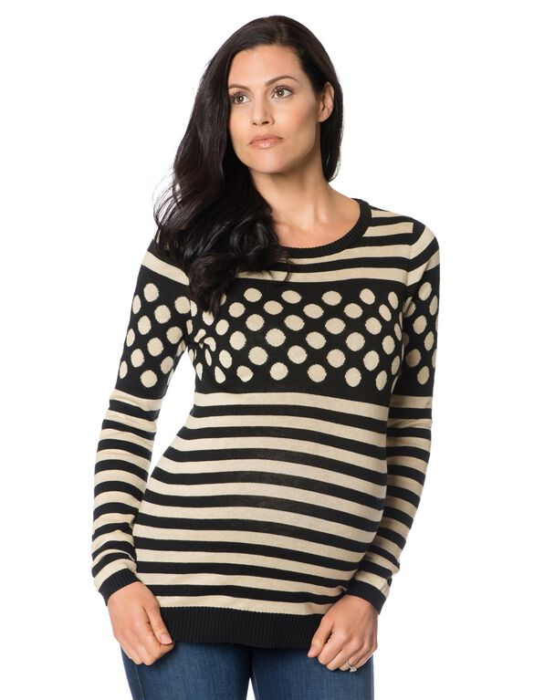 Maternity Sweater, Tan/Black