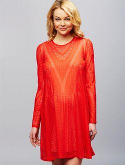 BCBGMAXAZRIA Lace Maternity Dress, Scarlet