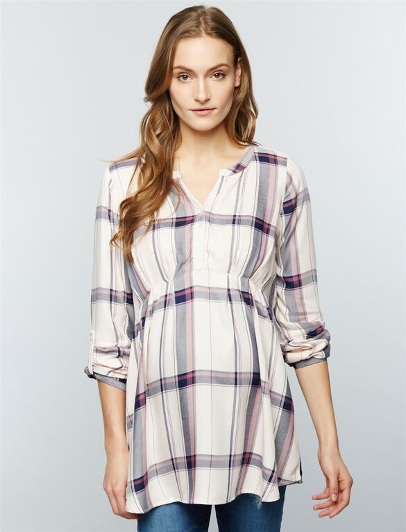 Luxe Essentials Denim Plaid Convertible Maternity Shirt- Pink, Pink Plaid