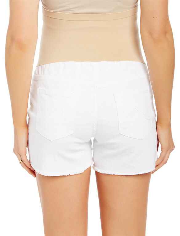 Secret Fit Belly Fray Hem Maternity Shorts, White