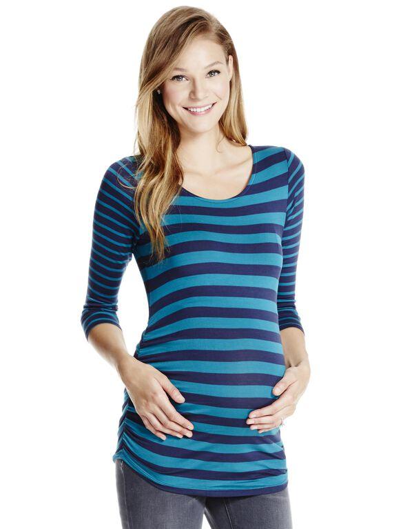 Jessica Simpson Lightweight Maternity T Shirt, Navy Stripe