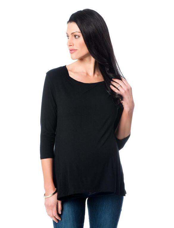 Majestic A-line Maternity Top, Black
