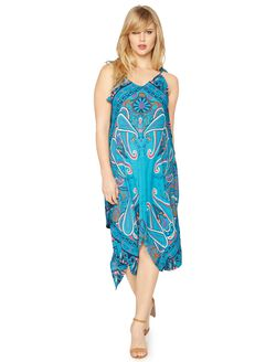 Spaghetti Strap High-low Maternity Maxi Dress, Multi Print