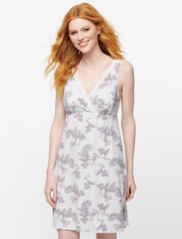 Lace Trim Nursing Nightgown, Floral Print