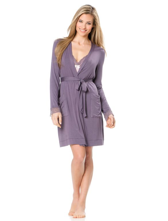 Lace Nursing Nightgown And Robe, Purple