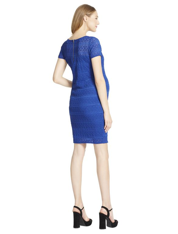 Jessica Simpson Lace Bodycon Maternity Dress- Blue, Blue