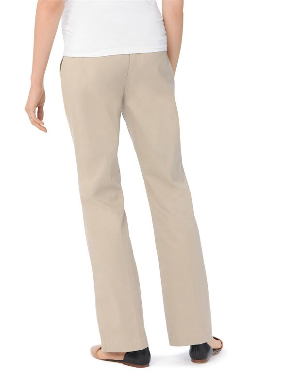 Secret Fit Belly Twill Boot Cut Maternity Pants, Stone