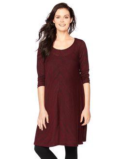 Scoop Neck Swing Maternity Dress, Heathered Burgundy