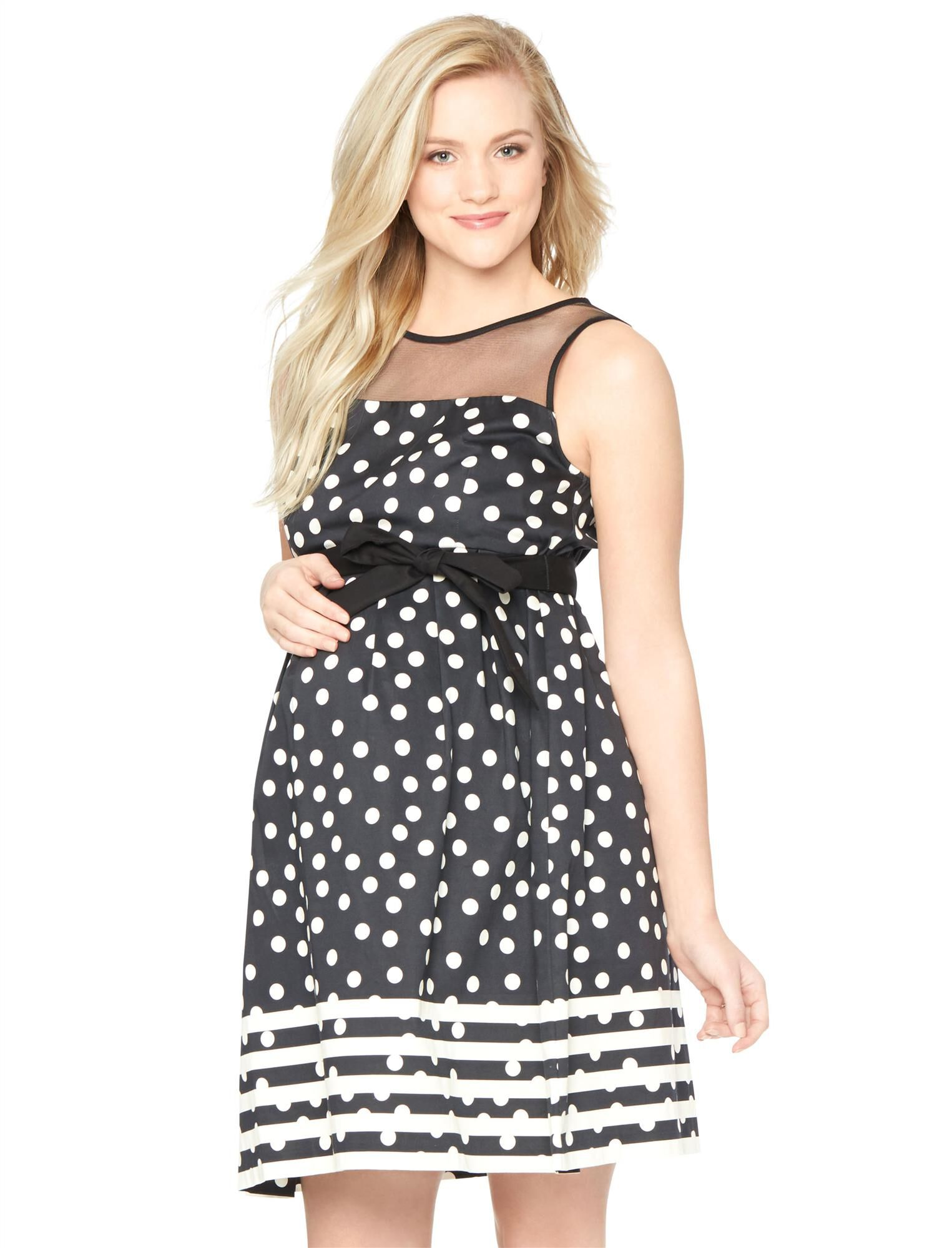 Vintage Style Maternity Clothes Dot Print Pleated Maternity Dress $24.97 AT vintagedancer.com