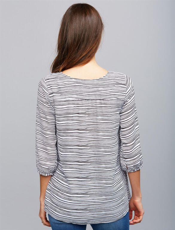 Lace Up Maternity Blouse, Black/White Stripe