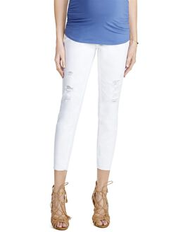 Jessica Simpson Secret Fit Belly Destructed Skinny Maternity Jeans, White