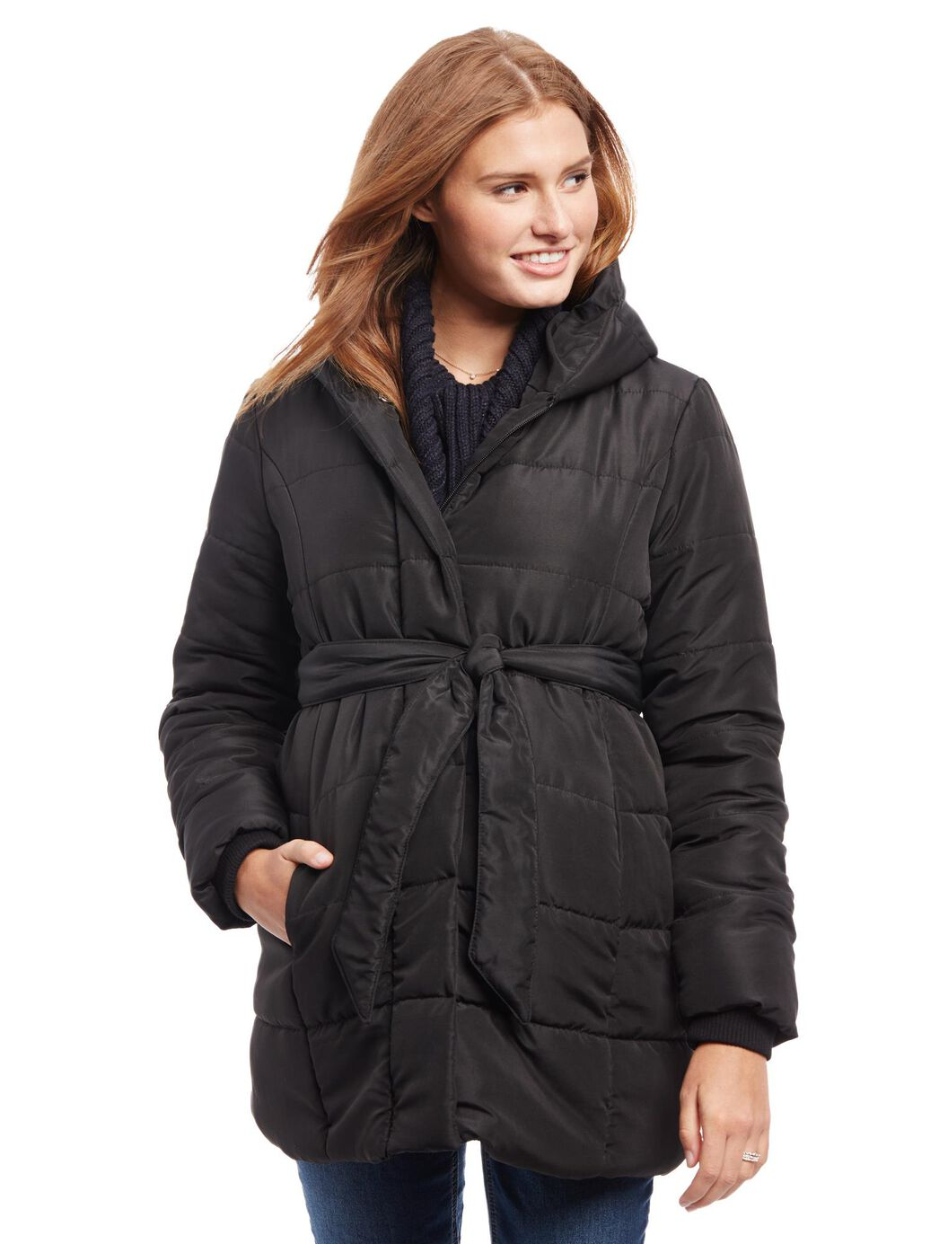 Quilted Puffer Waist Tie Maternity Coat at Motherhood Maternity in Victor, NY | Tuggl