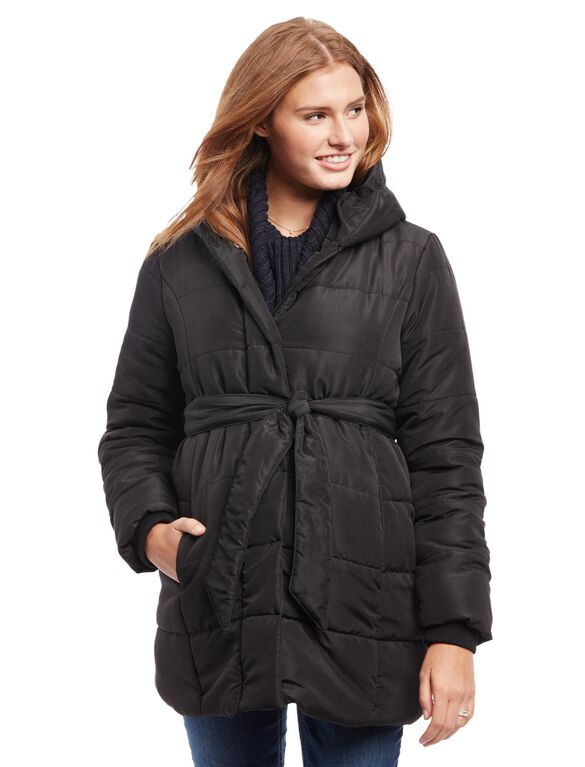 Quilted Puffer Waist Tie Maternity Coat, Black