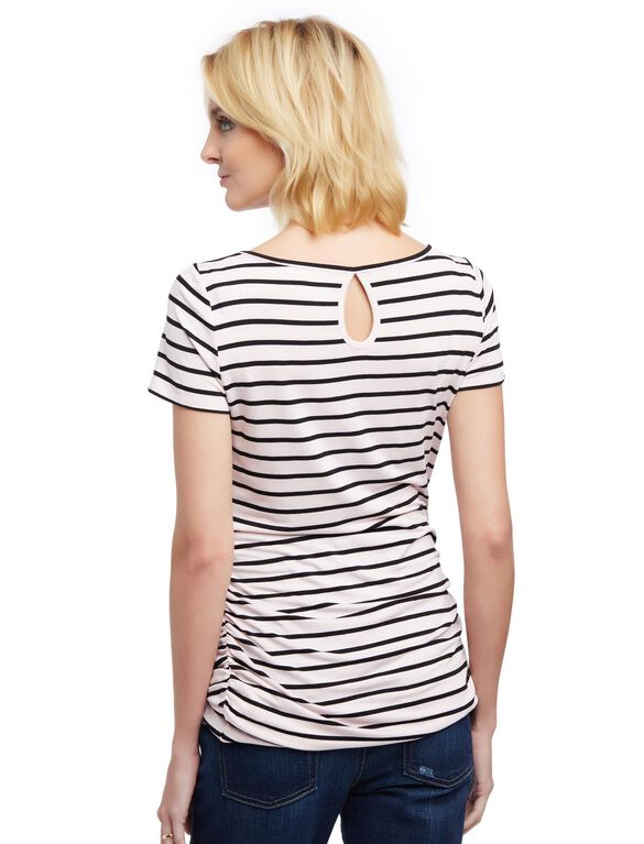 Lace Detail Side Ruched Maternity Tee- Stripe, Black Stripe