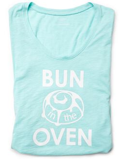 Bun In The Oven Maternity Tee- Blue, Seafoam