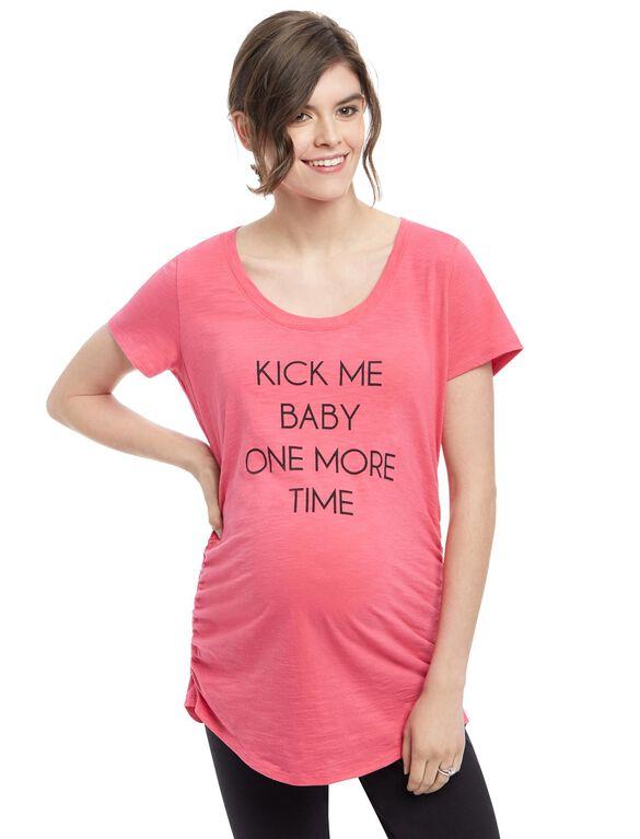 Kick Me Baby Maternity Tee, Pink