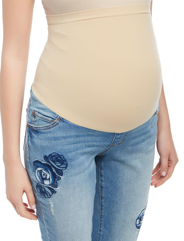 Secret Fit Belly Floral Embroidered Maternity Crop Jeans, Medium Wash