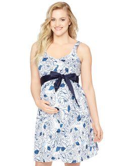 Sweetheart Neckline Maternity Dress, Blue