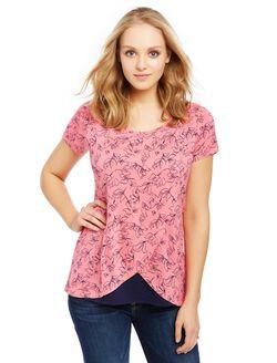 Short Sleeve Tulip Layered Nursing T-shirt- Floral, Camilia Rose Floral