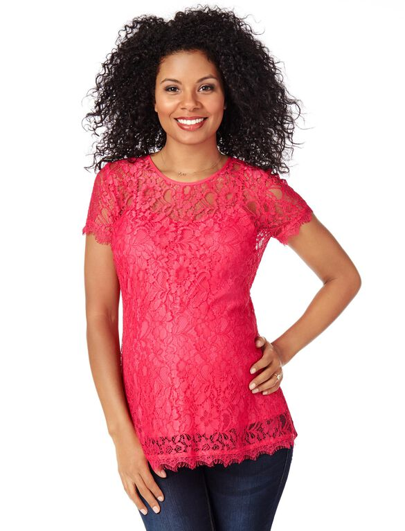 Lace Maternity Top, Raspberry