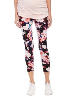 Secret Fit Belly Printed Maternity Crop Leggings- Blurred Floral, Blurred Floral