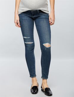 Paige Denim Under Belly Skinny Leg Maternity Jeans-Destructed, Medium Wash