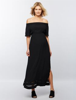 Ripe Off The Shoulder Maternity And Nursing Dress, Black
