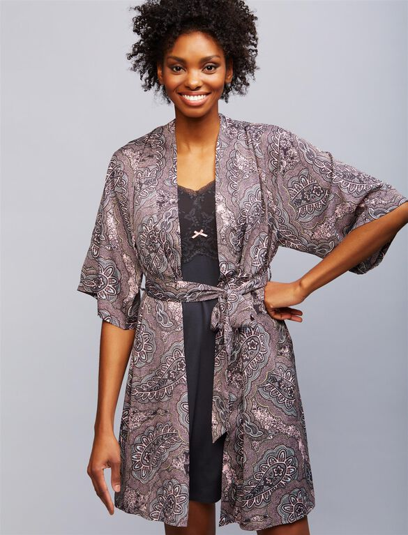 Relaxed Fit Nursing Nightgown And Robe, Paisley
