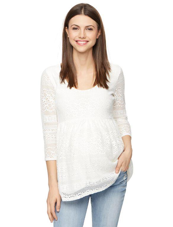 Lace Peplum Maternity Top, Soft White