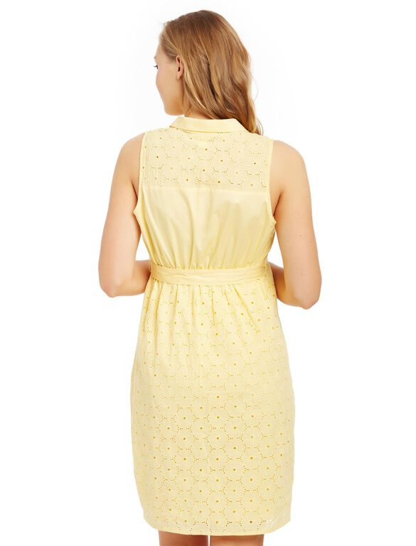 Eyelet Maternity Shirt Dress, Yellow Haze