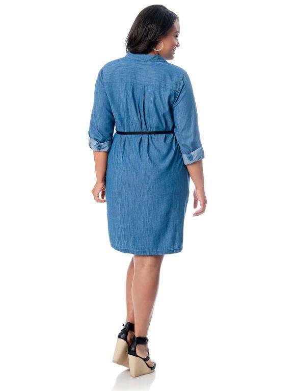 Plus Size Convertible Sleeve Maternity Dress, Chambray