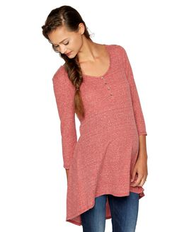 High-low Hem Maternity Tunic, Light Red