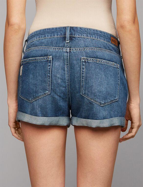 Paige Side Panel Destructed Maternity Shorts, Medium Wash