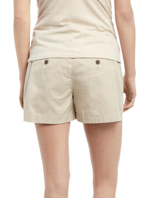 Under Belly Twill Chino Maternity Shorts, Oat