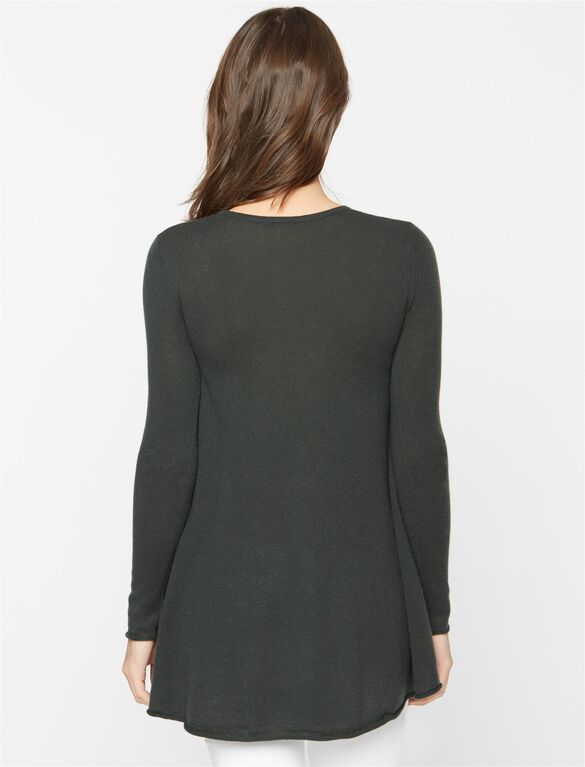 Autumn Cashmere Side Slit Maternity Sweater Tunic, Kale