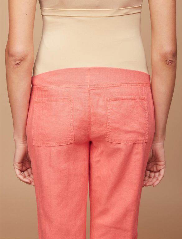 Secret Fit Belly Linen Blend Straight Leg Maternity Pants, Coral Fizz
