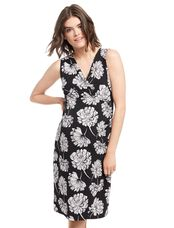Floral Faux Wrap Maternity Dress, Black/White Floral