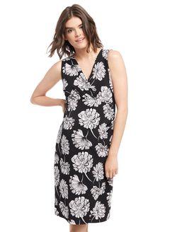 Floral Faux Wrap Maternity Dress, Black/White Floral