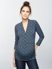 Side Pleat Maternity Top- Print, Geo Print
