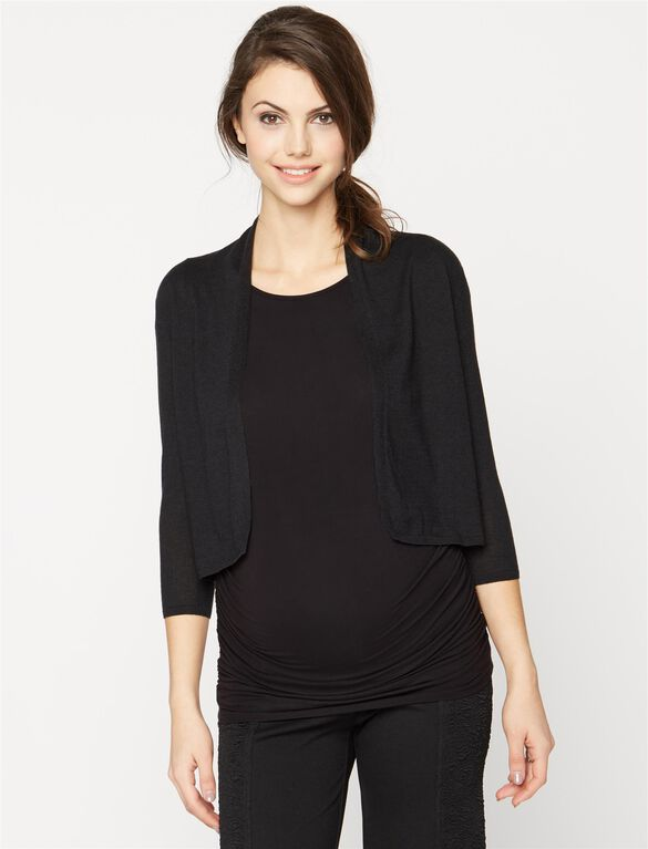 Autumn Cashmere Cropped Maternity Cardigan, Black
