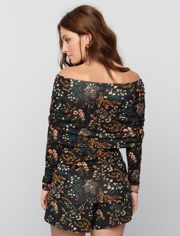 Cowl Off The Shoulder Maternity Top- Black Floral, Floral Print