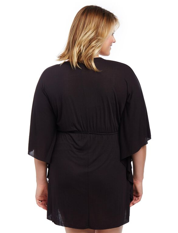Plus Size Crochet Detail Maternity Swim Cover-up, Black