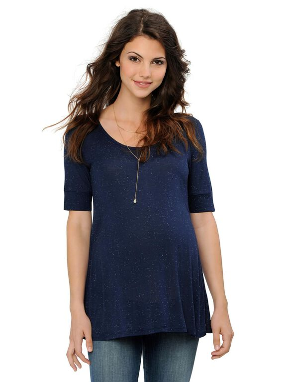 Relaxed Maternity Shirt, Midnight/White Nep
