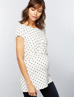 Envie de Fraise Aude Maternity Top- Dot Print, White/Navy Dot