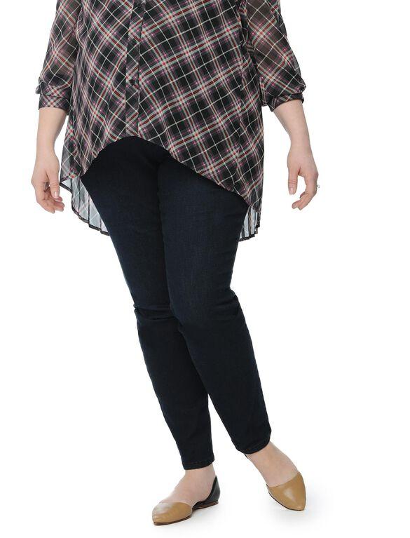 Plus Size Petite Secret Fit Belly Skinny Leg Maternity Jeans, Dark Wash