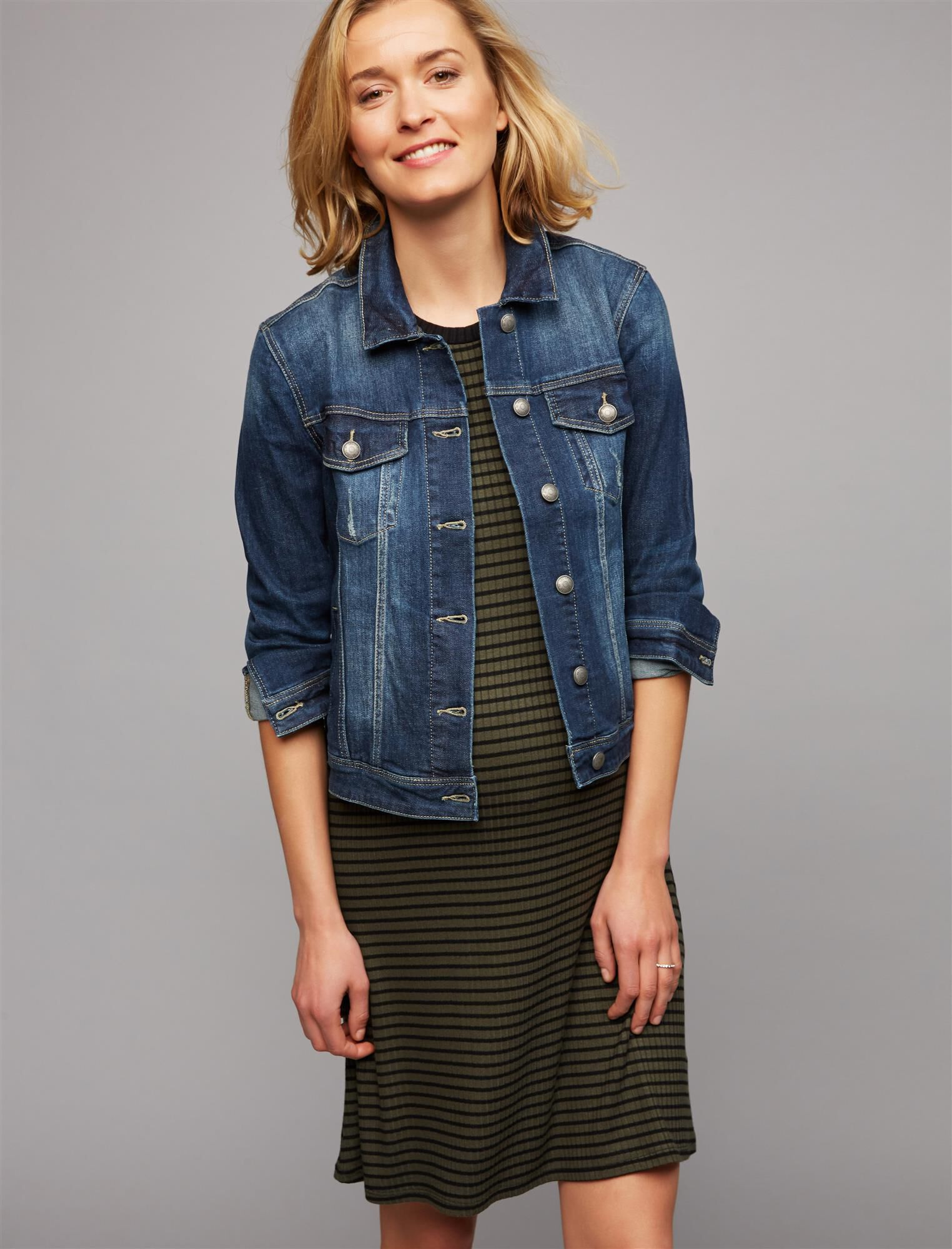 Web Only Articles Of Society Button Front Plain Weave Denim Maternity Jacket