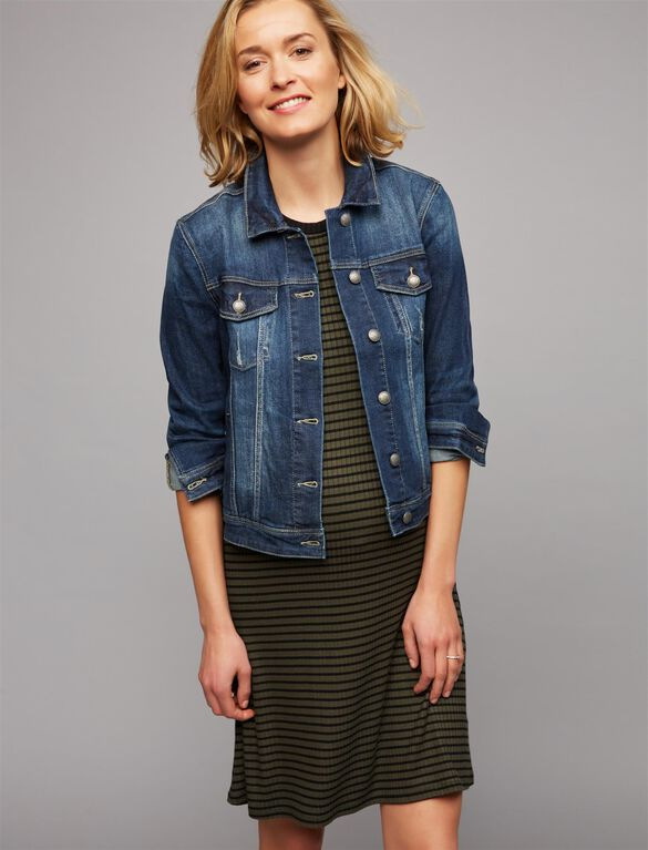 Web Only Articles Of Society Button Front Plain Weave Denim Maternity Jacket, Dark Wash