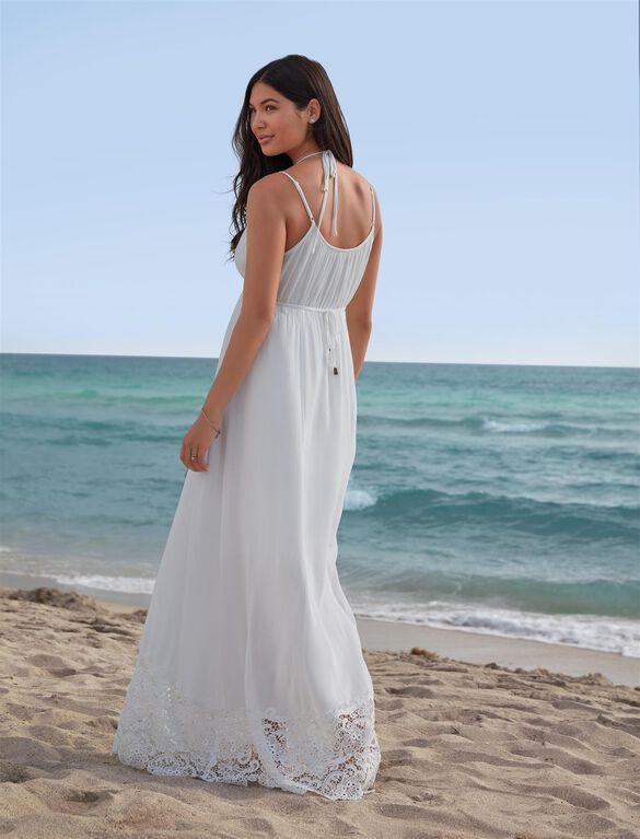 Lace Hem Maternity Maxi Dress, White